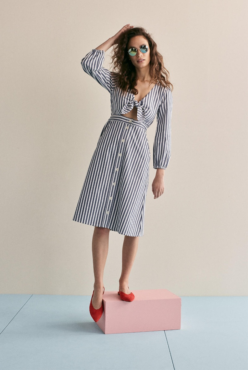 Madewell Shimmer Stripe Cutout Midi Dress and The Ava Slingback Flat in Suede