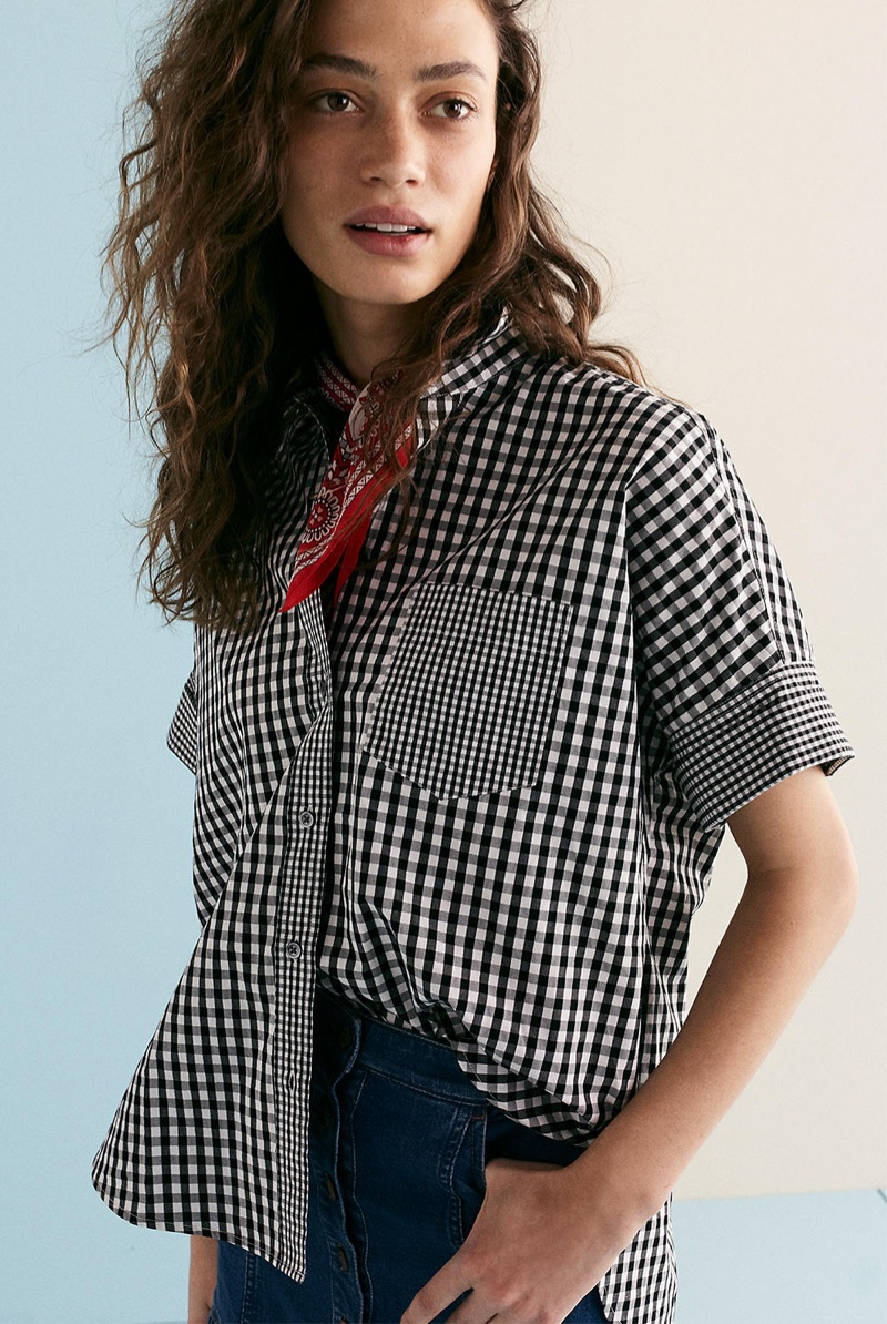 Madewell Gingham-Play Button-Down Shirt and Denim Bayview Tiered Midi Skirt