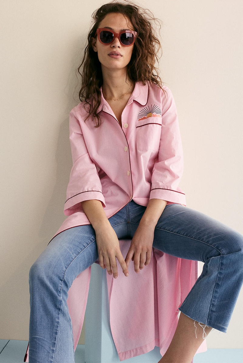 Madewell Embroidered Bedtime Nightdress, Cali Demi-Boot Jeans: Inset Edition and Pacific Cat Eye Sunglasses