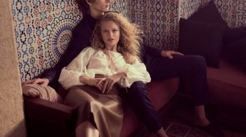 Frederikke Sofie poses with Erik van Gils for Massimo Dutti 'Les Voyageurs' lookbook