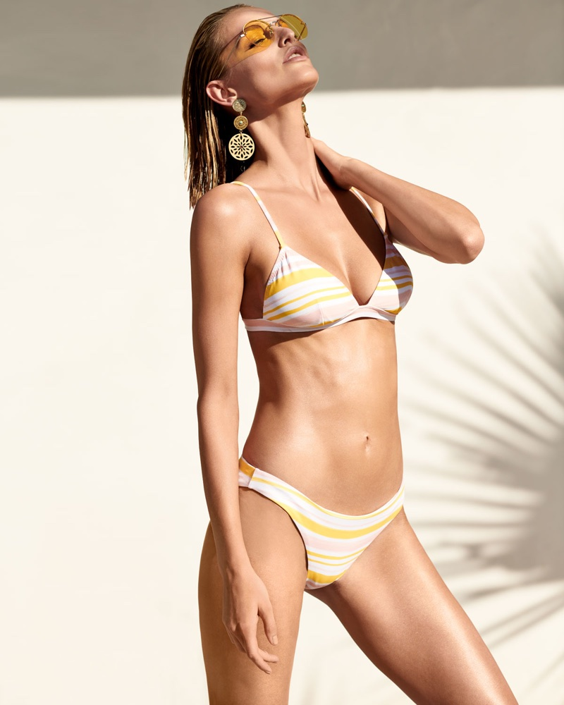 Eberjey Taylor Painted-Stripe Printed Swim Top and Annia Painted Stripe Low-Rise Swim Bottoms