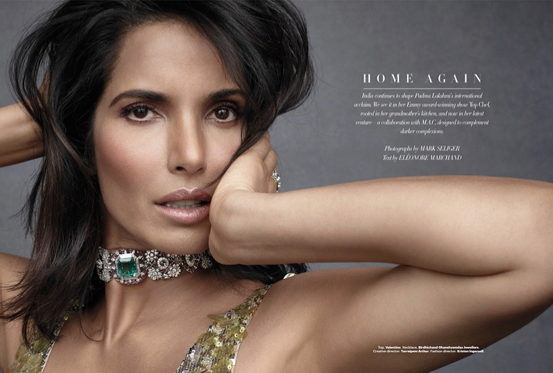 Ready for her closeup, Padma Lakshmi wears Valentino top with Birdhichand Ghanshyamdas Jewellers necklace