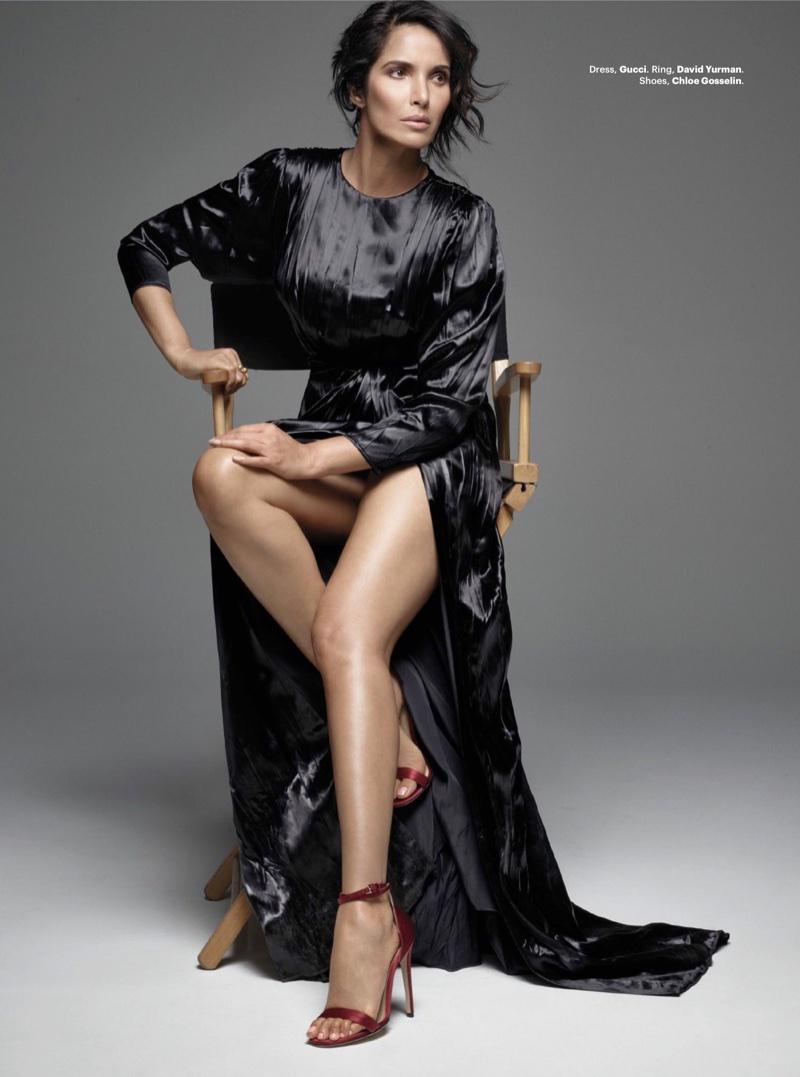Flaunting some leg, Padma Lakshmi wears Gucci dress, David Yurman ring and Chloe Gosselin sandals