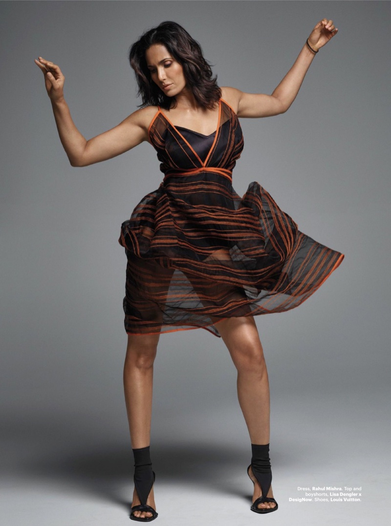 Padma Lakshmi poses in Rahul Mishra dress with Lisa Dengler x DesignNow top and boyshorts and Louis Vuitton heels