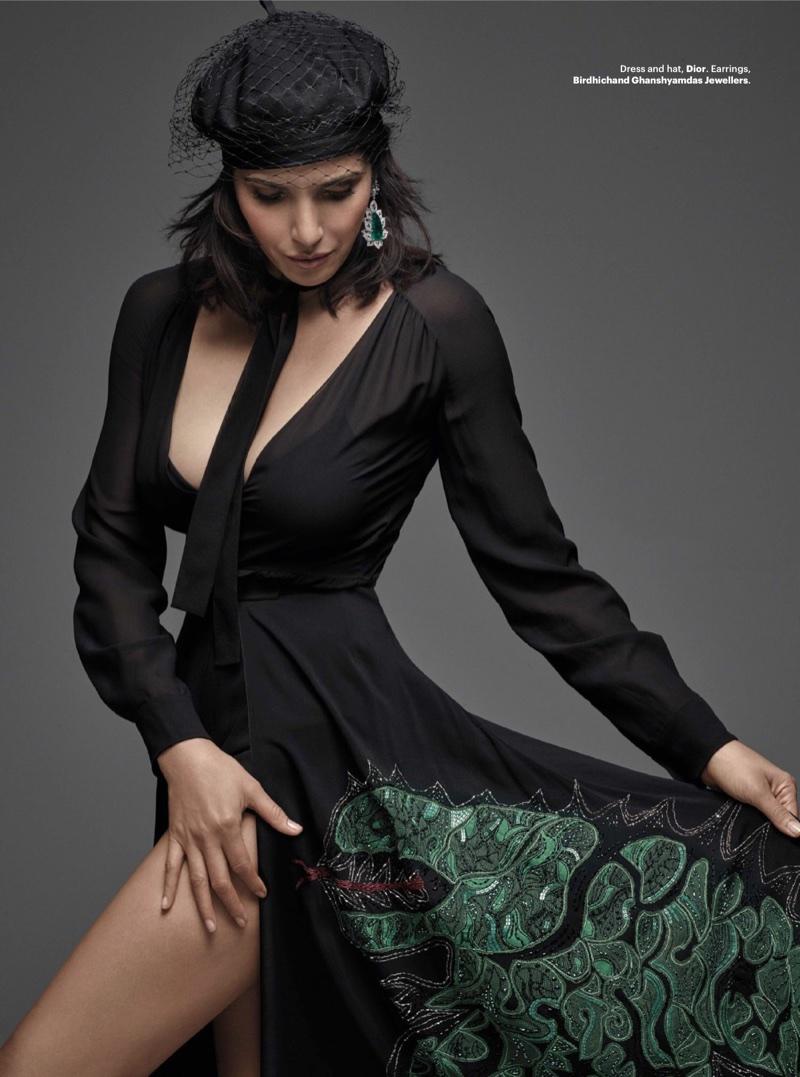 Padma Lakshmi wears Dior dress and hat with Birdhichand Ghanshyamdas Jewellers earrings