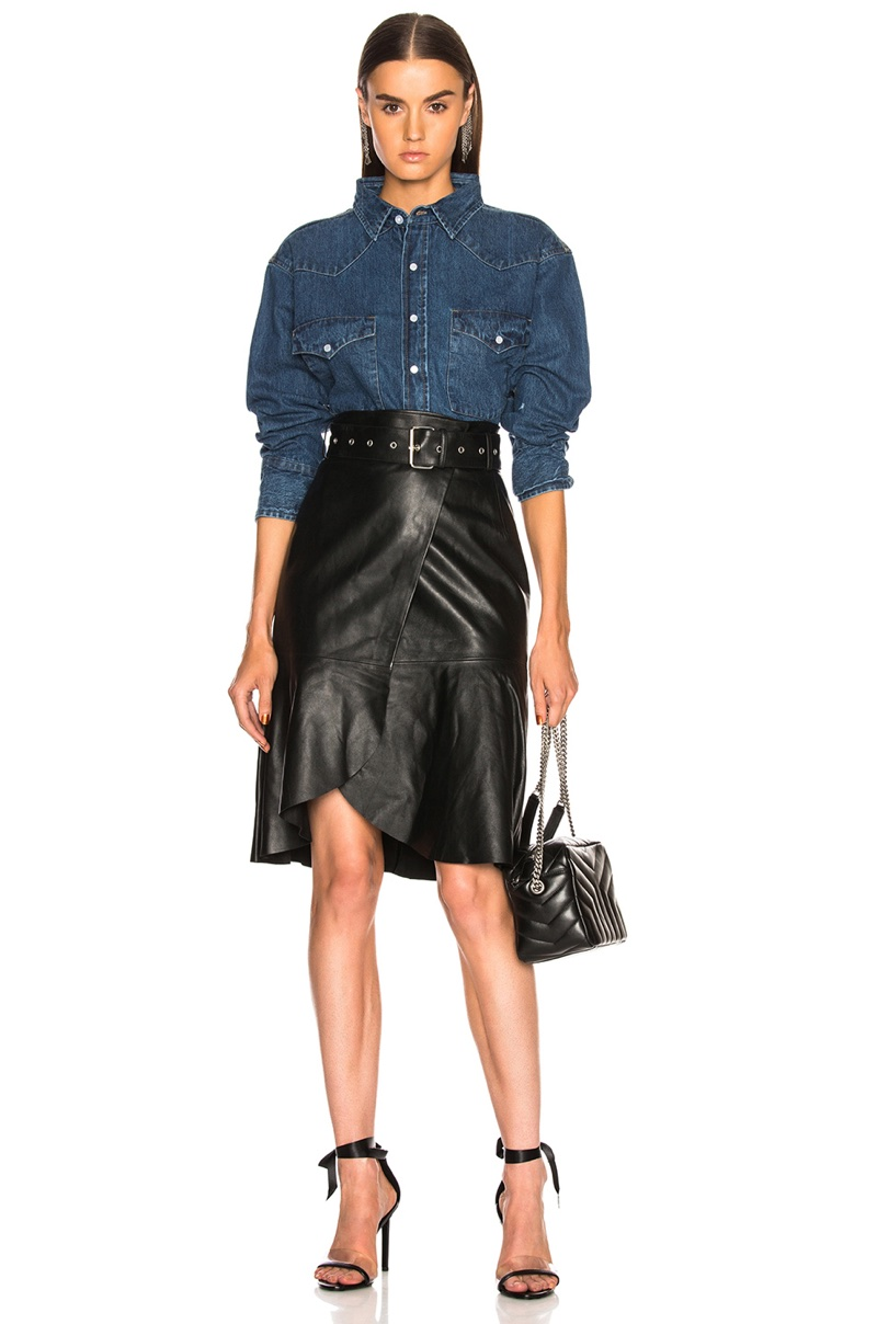 Palmer Girls x Miss Sixty Vintage Cropped Denim Shirt $164 and Leather Skirt $600