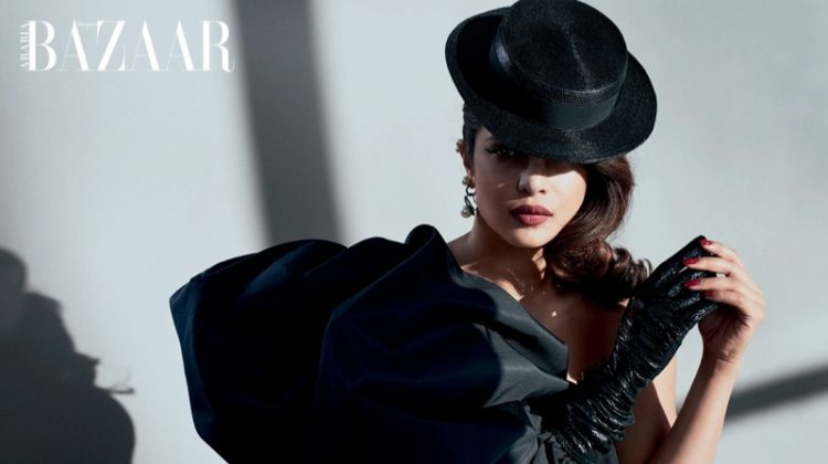 Actress Priyanka Chopra wears Saint Laurent dress, hat and earrings with LaCrasia gloves