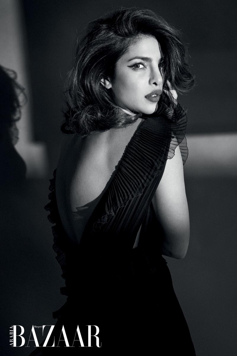 Actress Priyanka Chopra poses in ruffled Givenchy dress