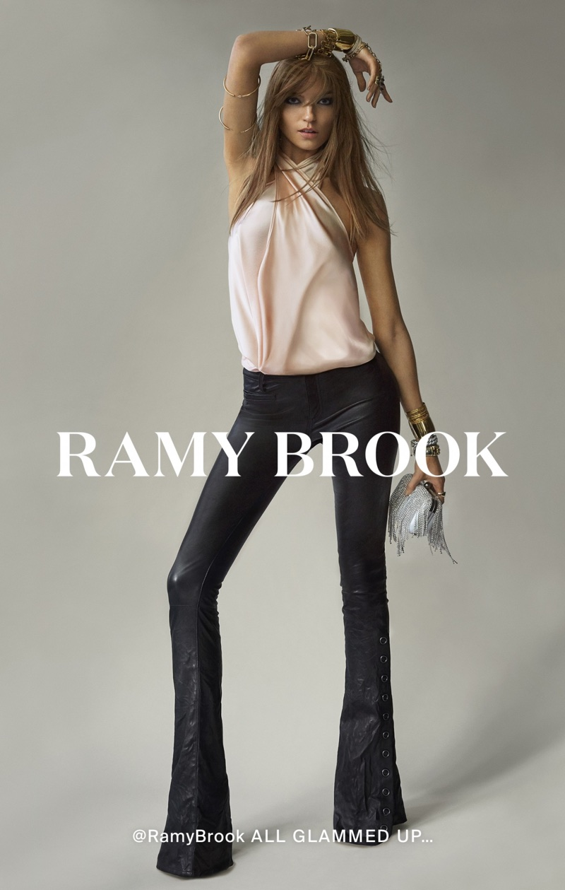 Model Martha Hunt poses in flared trousers for Ramy Brook's spring-summer 2018 campaign