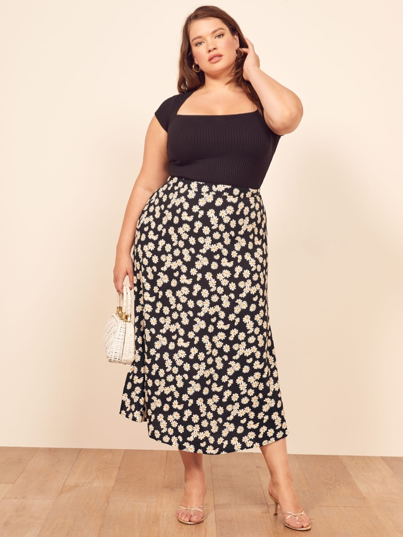 Reformation Extended Sizes Bea Skirt in Daisy Chain $148