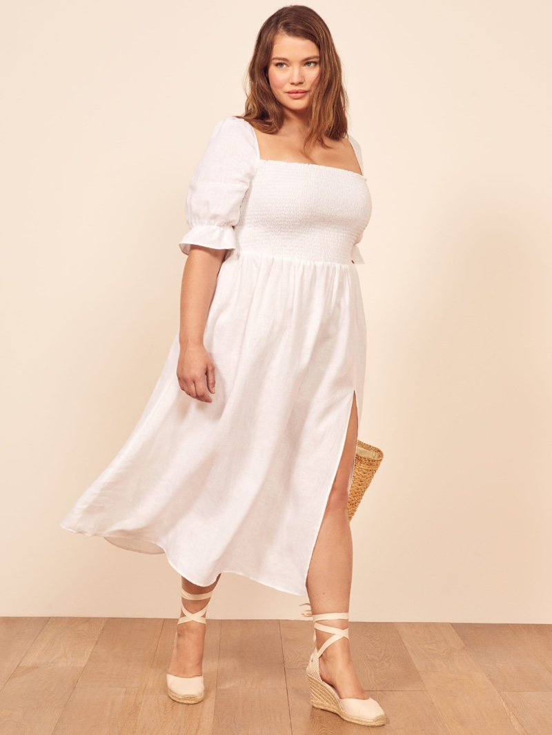 Reformation Extended Sizes Marabella Dress in White $248