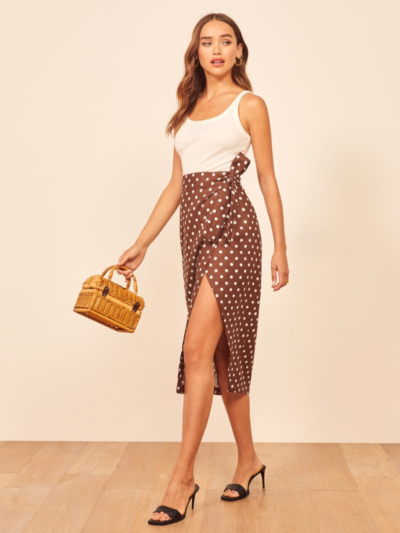Reformation Florence Skirt in Au Lait $148