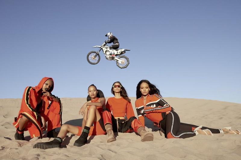 Rihanna poses with Slick Woods, Selena Forrest and Yasmin Wijnaldum for Fenty PUMA spring 2018 campaign