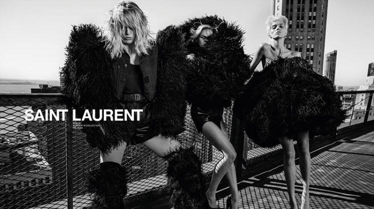 Anja, Raquel & Cara Front Saint Laurent's Spring 2018 Campaign