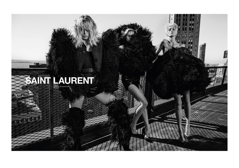Raquel Zimmermann, Cara Taylor and Anja Rubik star in Saint Laurent's spring-summer 2018 campaign