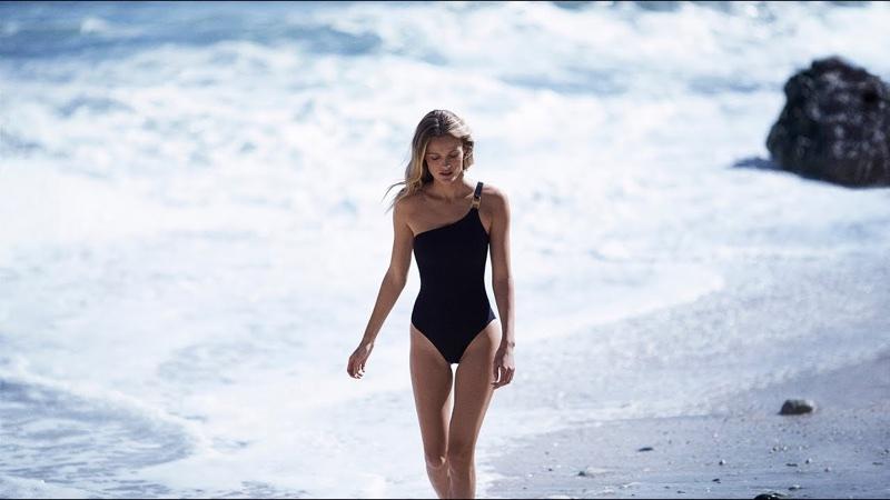 Model Edita Vilkeviciute wears one-shoulder swimsuit in Tory Burch's resort 2018 campaign