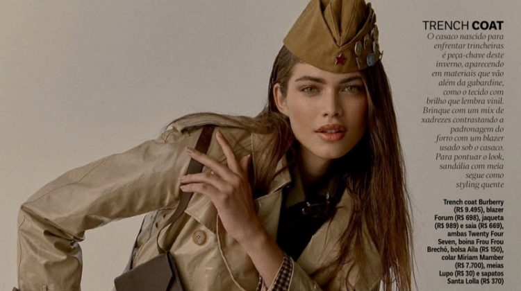 Valentina Sampaio Models Military Inspired Fashions for Vogue Brazil