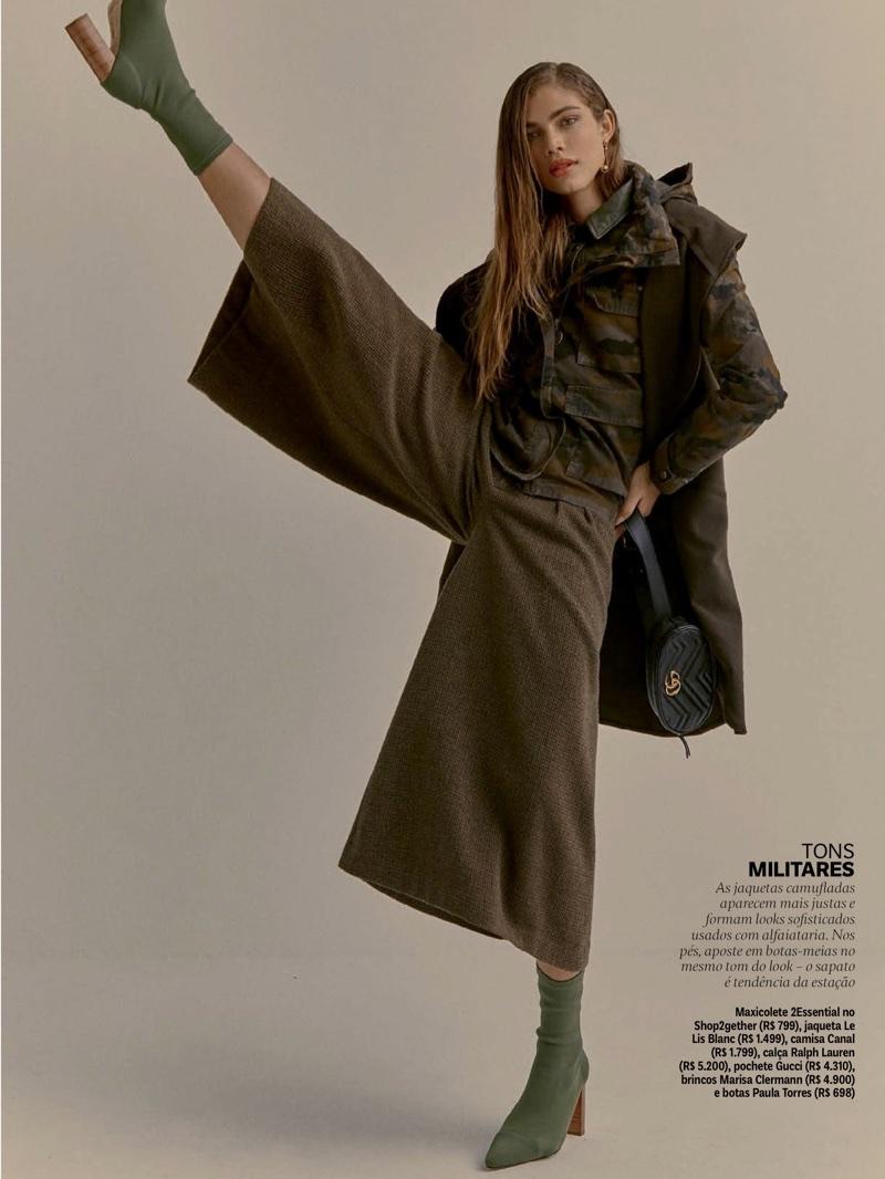 Valentina Sampaio Models Military Inspired Fashions for Vogue Brazil