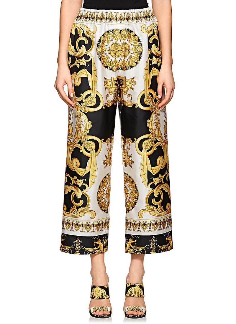 Versace Baroque-Print Crop Pants $795