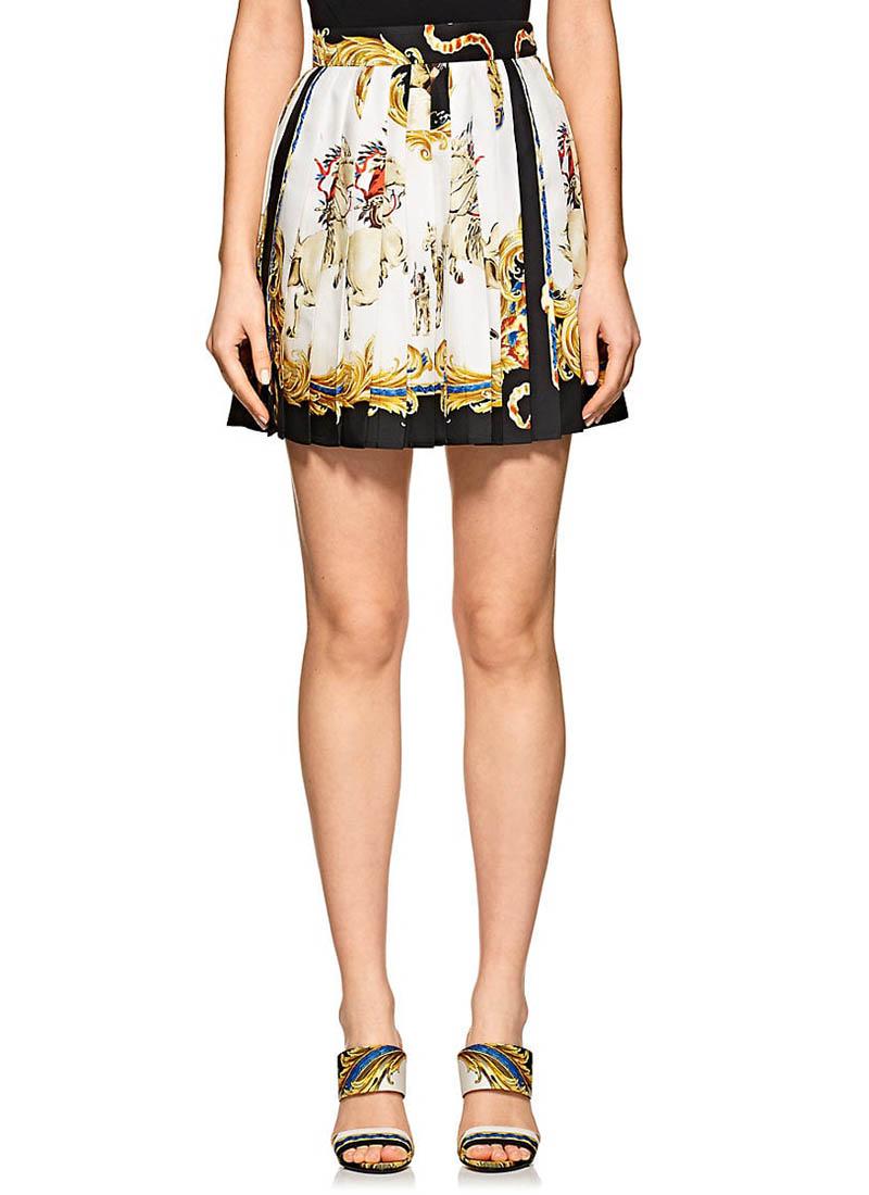 Versace Graphic Pleated Silk Miniskirt $1,475