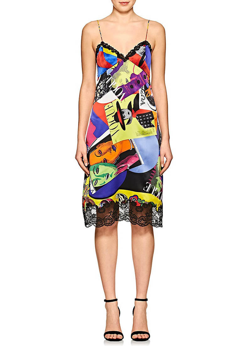 Versace Lace-Trimmed Graphic Silk Slipdress $2,775