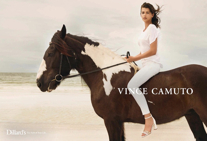 Georgia Fowler rides a horse for Vince Camuto's spring-summer 2018 campaign