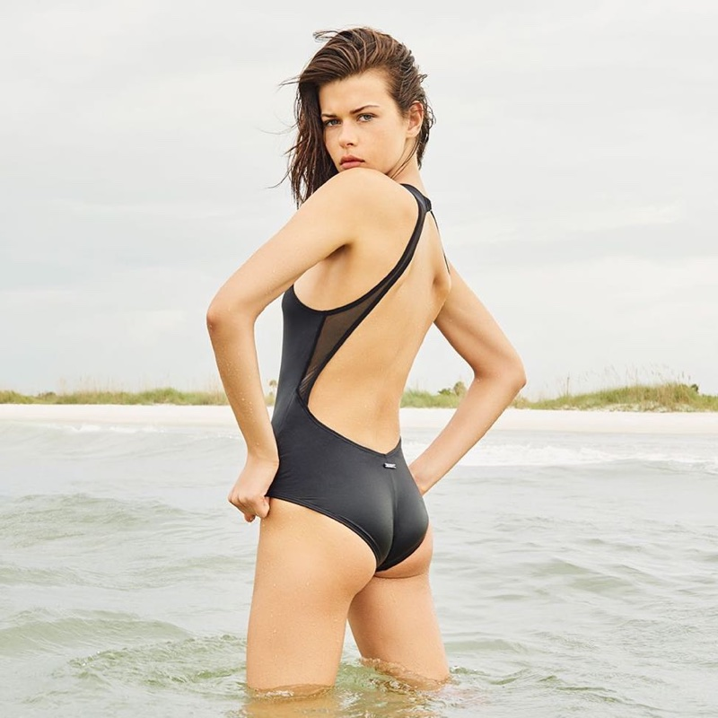 Georgia Fowler poses in swimsuit for Vince Camuto's spring-summer 2018 campaign