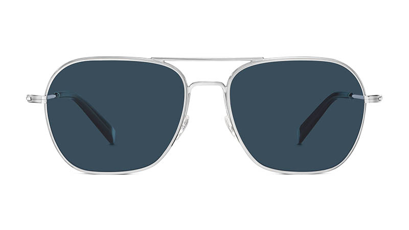Warby Parker Abe Sunglasses in Polished Silver with Vintage Blue Lenses $145