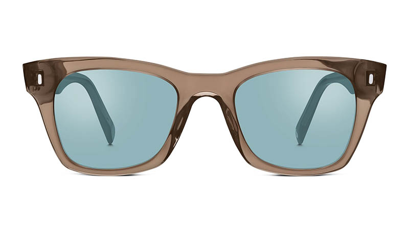 Warby Parker Harris Sunglasses in Crystal Smoke with Flash Mirrored Electric Blue Lenses $95