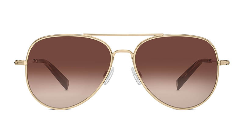 Warby Parker Raider Sunglasses in Gold with Brown Gradient Lenses $145