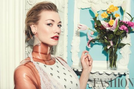 Actress Yvonne Strahovski wears Valentino dress, House of Etiquette top and Emporio Armani earrings