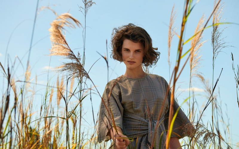 Giedre Dukauskaite wears Zara Asymmetric Checked Dress