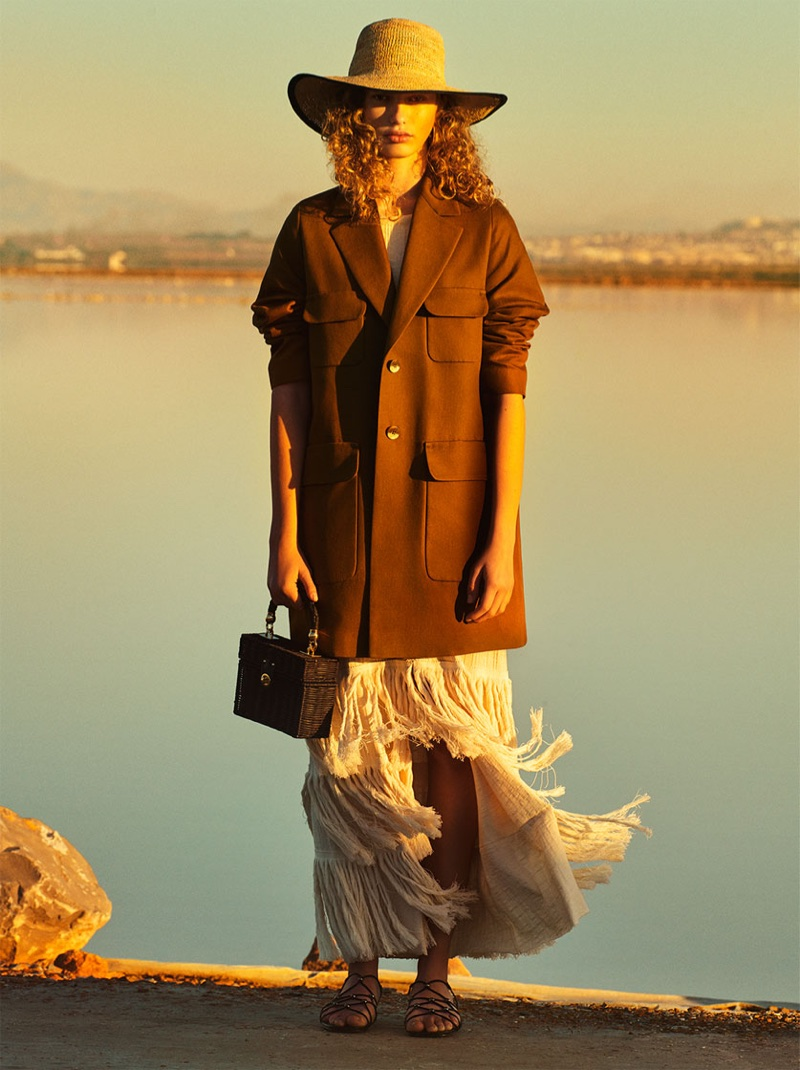 Zara Linen Coat, Fringed Skirt and Minaudière Bag with Braided Handle