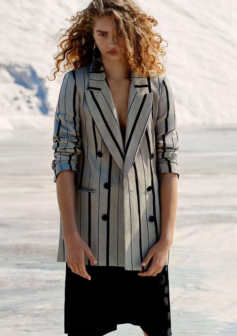Dorit Revelis wears Zara Striped Blazer and Jacquard Polka Dot Skirt