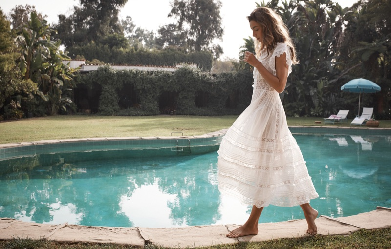 Zimmermann spotlights Iris lace trim dress for Swim Summer 2018 campaign