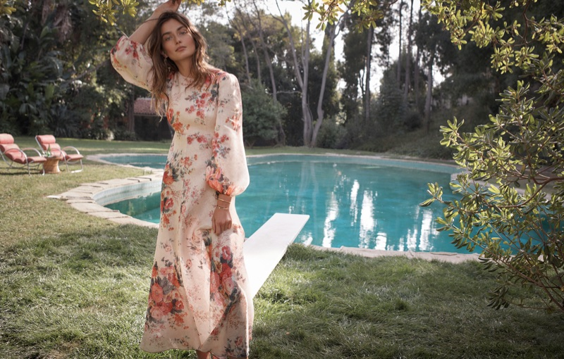 Andreea Diaconu models Laelia dress in Zimmermann's Swim Summer 2018 campaign