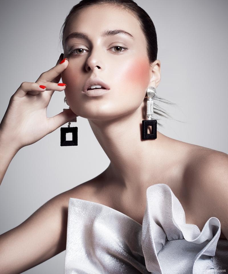 Earrings Oscar de la Renta and Silver Ruffle Top Anna October