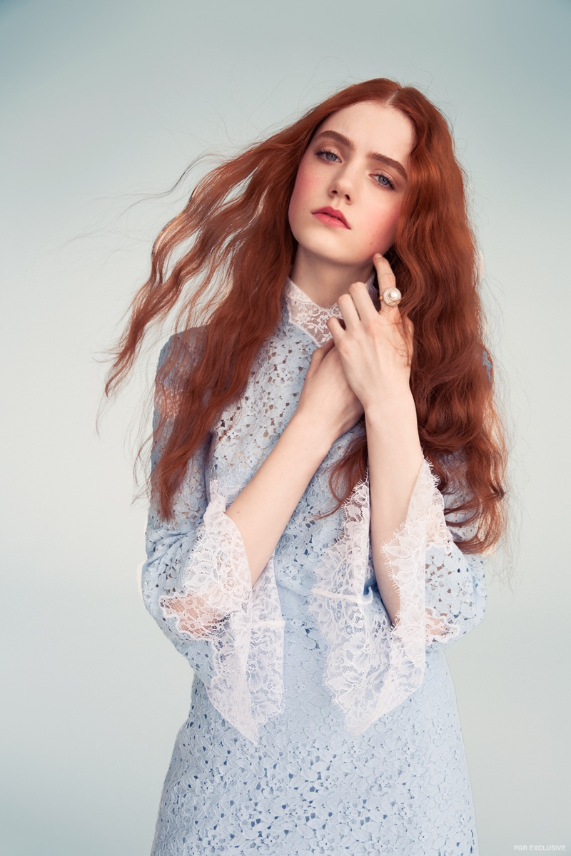 Blumarine Blue White Lace Dress and Kenneth Jay Lane Pearl Ring