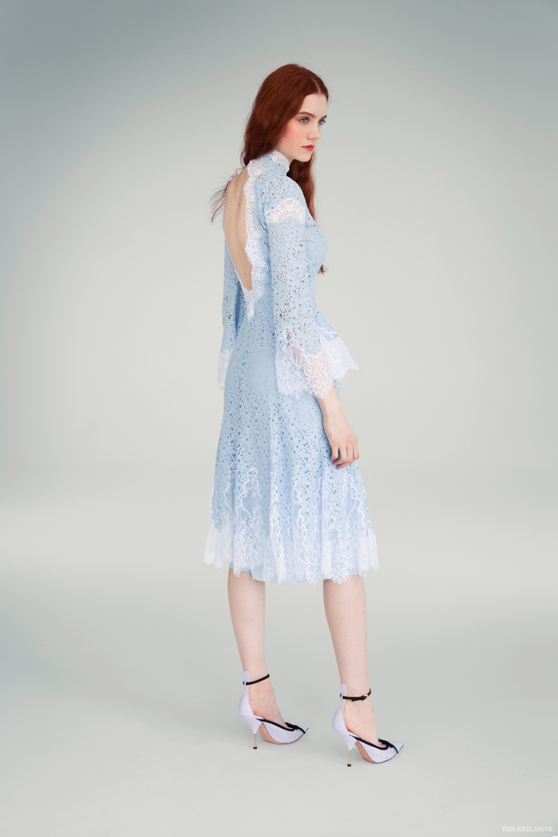 Blumarine Blue White Lace Dress, Kenneth Jay Lane Pearl Ring and Rochas Shoes
