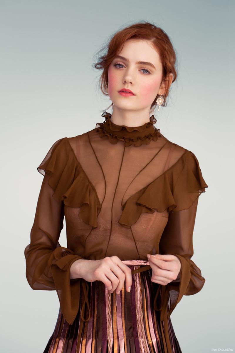 J. Mendel Olive Chiffon Blouse and Metallic Pleated Skirt