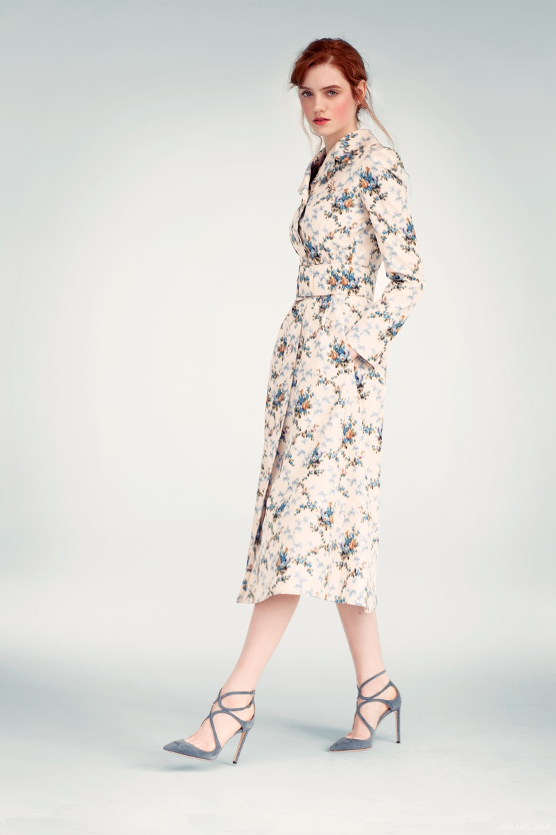 Brock Collection Floral Trench, Jimmy Choo Smoke Suede Sandal and Kenneth Jay Lane Brooch & Earrings