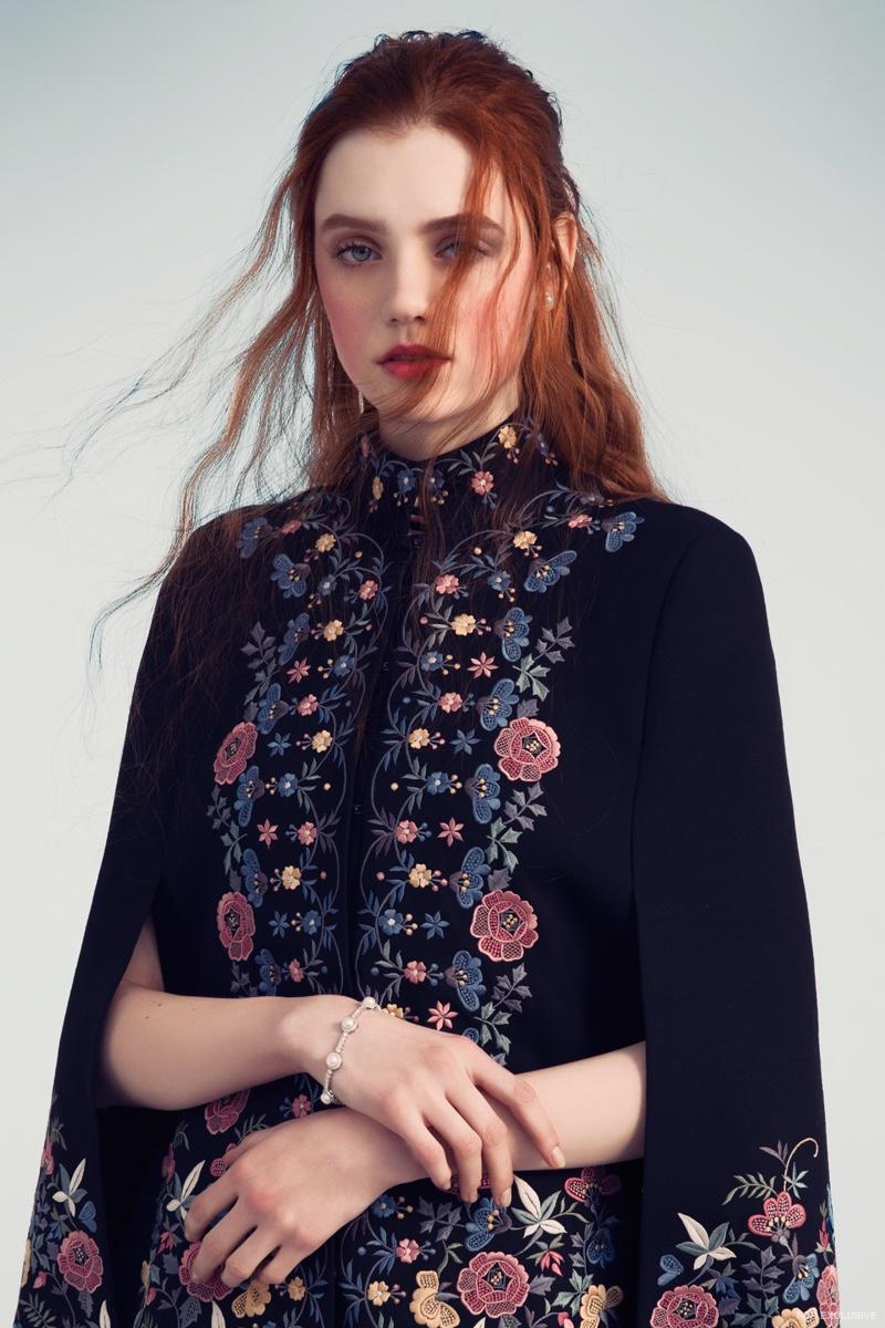 Vilshenko Floral Embroidered Cape and Kenneth Jay Lane Bracelet