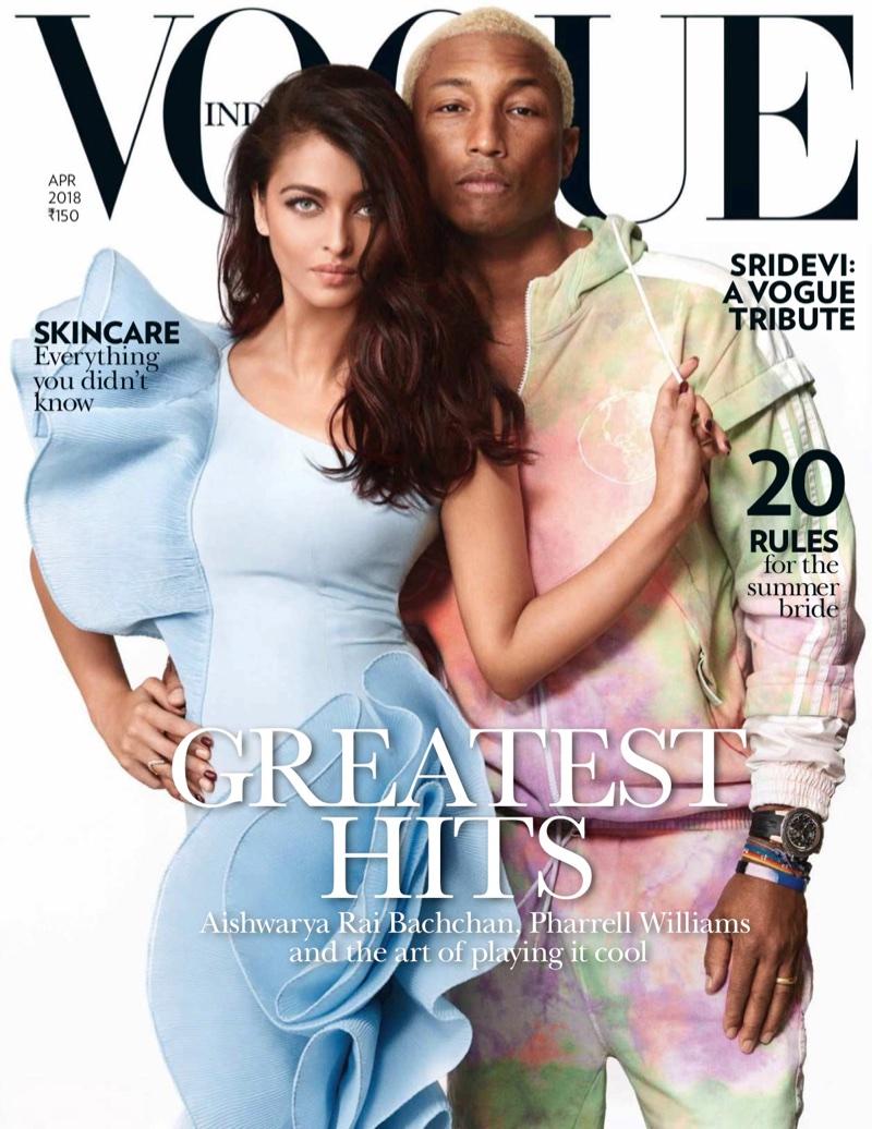 Aishwarya Rai and Pharrell Williams on Vogue India April 2018 Cover