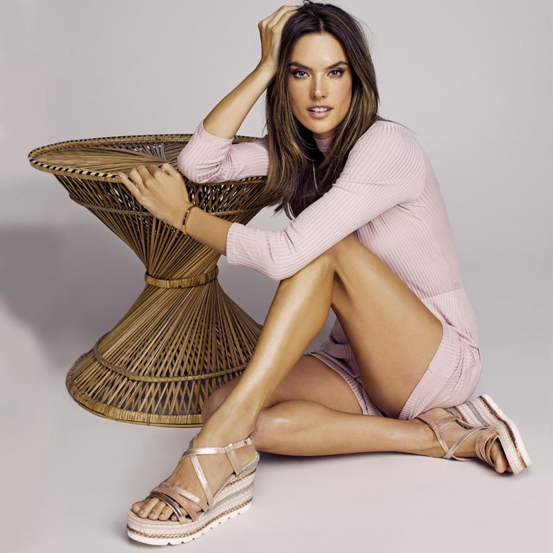 An image from XTI Shoes's spring 2018 advertising campaign with Alessandra Ambrosio