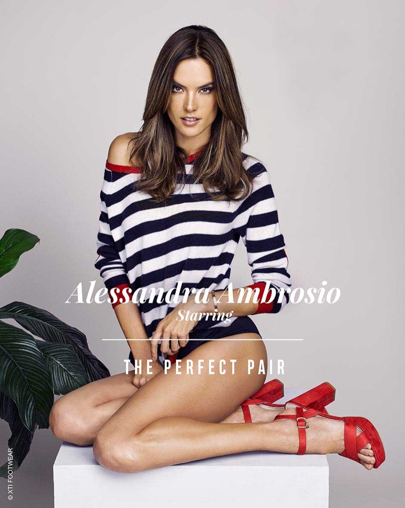 Alessandra Ambrosio models red sandals in XTI Shoes' spring-summer 2018 campaign