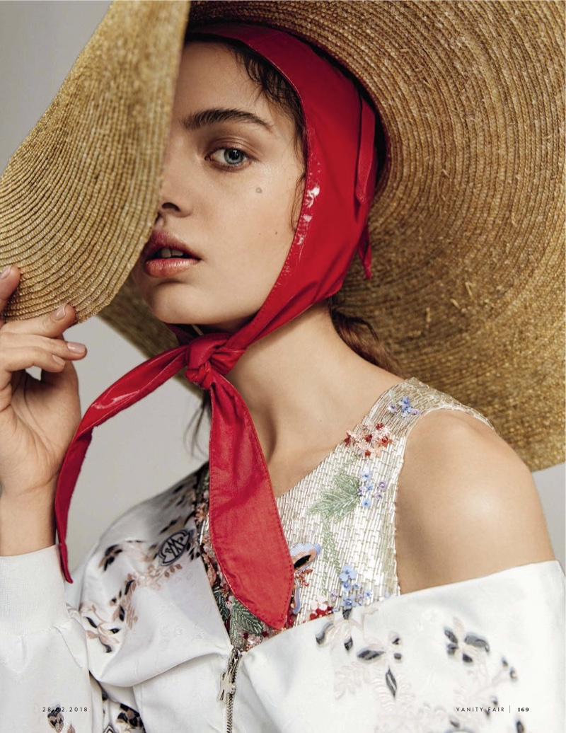 Anna Vivchar Charms in Feminine Florals for Vanity Fair Italy