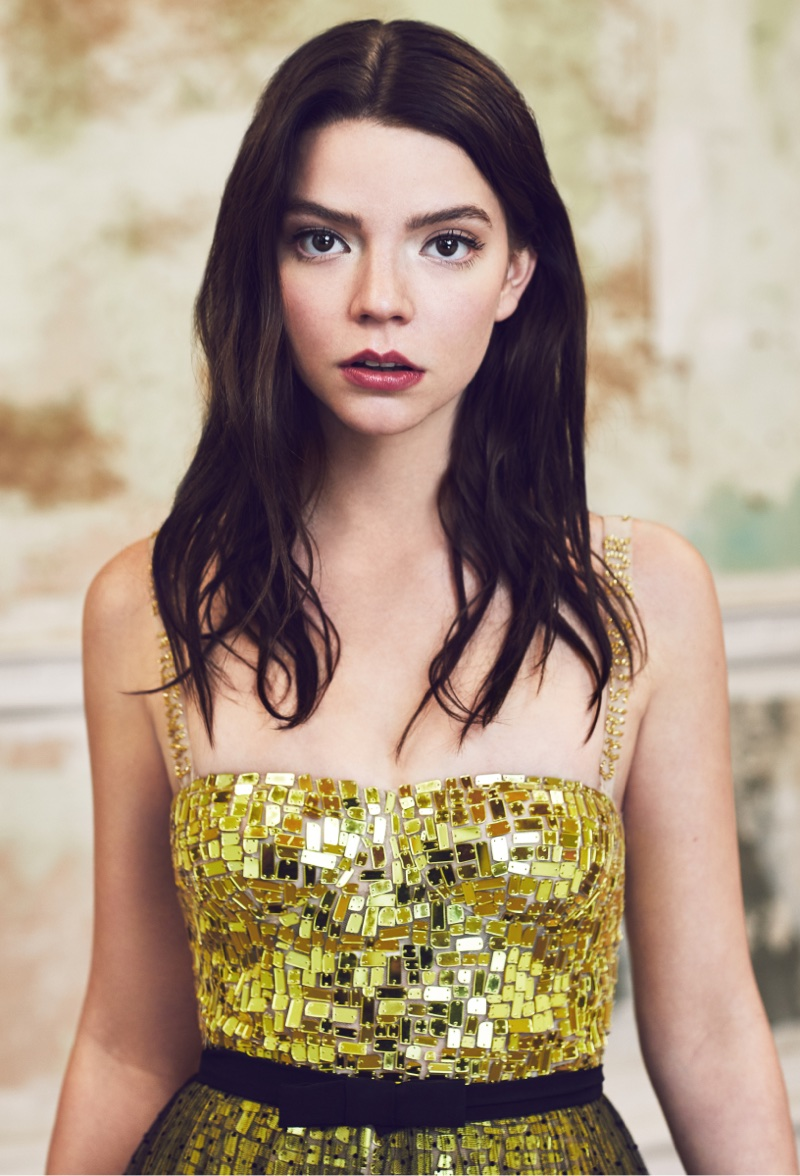 Anya Taylor-Joy poses in sequined Dior look