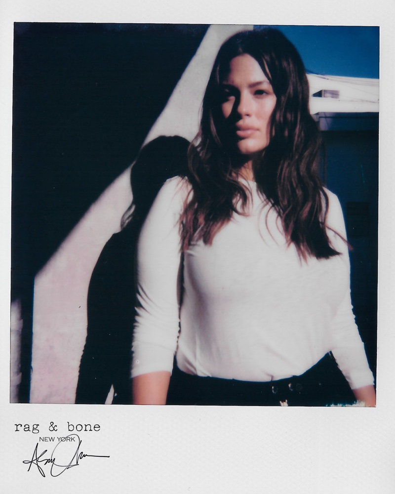Captured in a polaroid image, Ashley Graham fronts Rag & Bone DIY Project