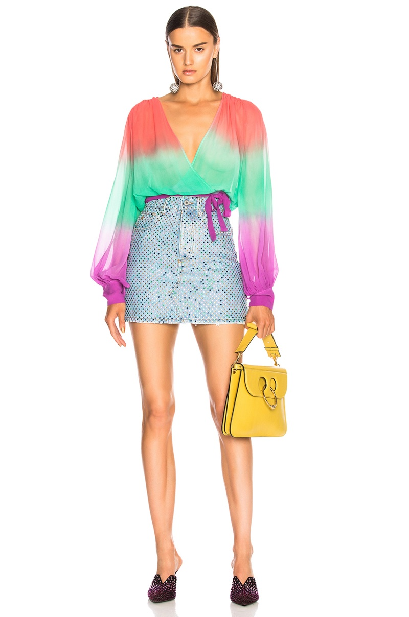 Attico for FWRD Degrade Cropped Shirt $1,152 and Multicolor Crystal Skirt $1,113