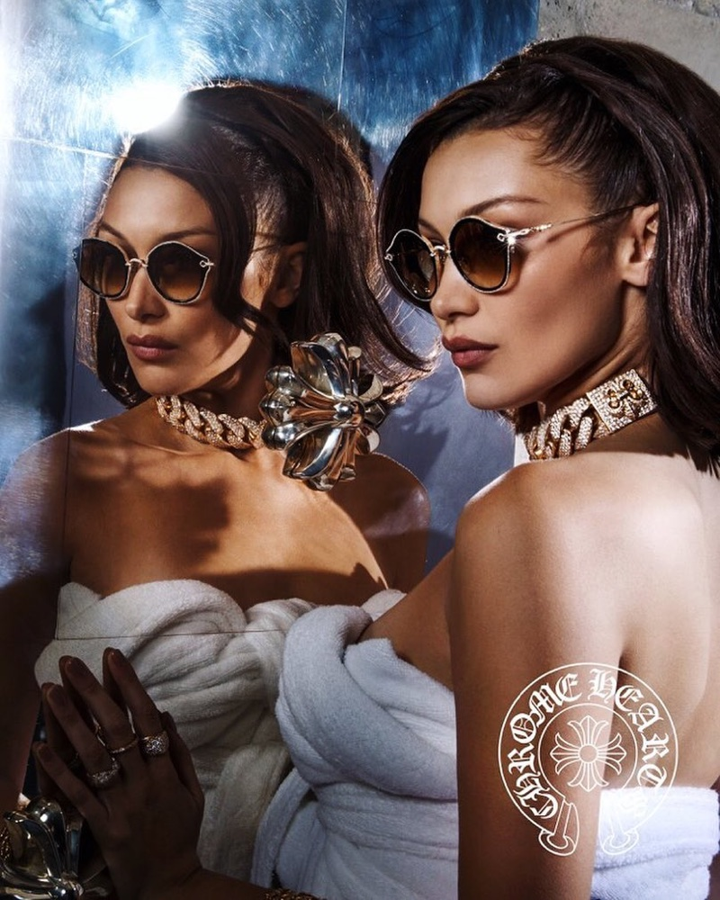 Bella Hadid wears chic sunglasses in Chrome Hearts' spring-summer 2018 campaign